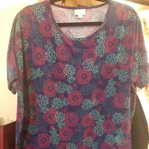 LulaRoe Large Irma tunic, like new, navy, teal, pk